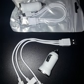 Отличный подарок для мужчины и не только  Зарядное устройство USB от прикуривателя + 3 коннектора