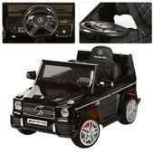 Электромобиль детский джип с мягкими колесами Mercedes  черный, автопокраска и кожаное