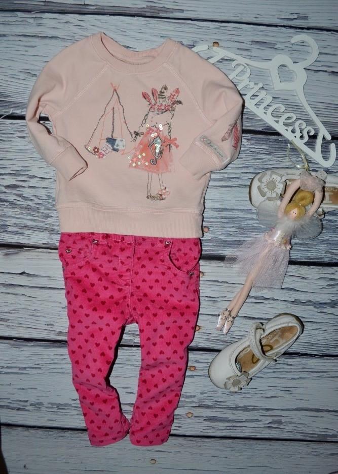 9 - 12 месяцев 74 - 80 см мего крутые штаны узкачи скины розовые микровельвет сердечки фото №1