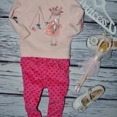9 - 12 месяцев 74 - 80 см Мего крутые штаны узкачи скины розовые микровельвет сердечки