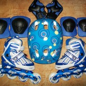 Раздвижные ролики 30-33, 34-37 со шлемом и защитой! Для мальчика