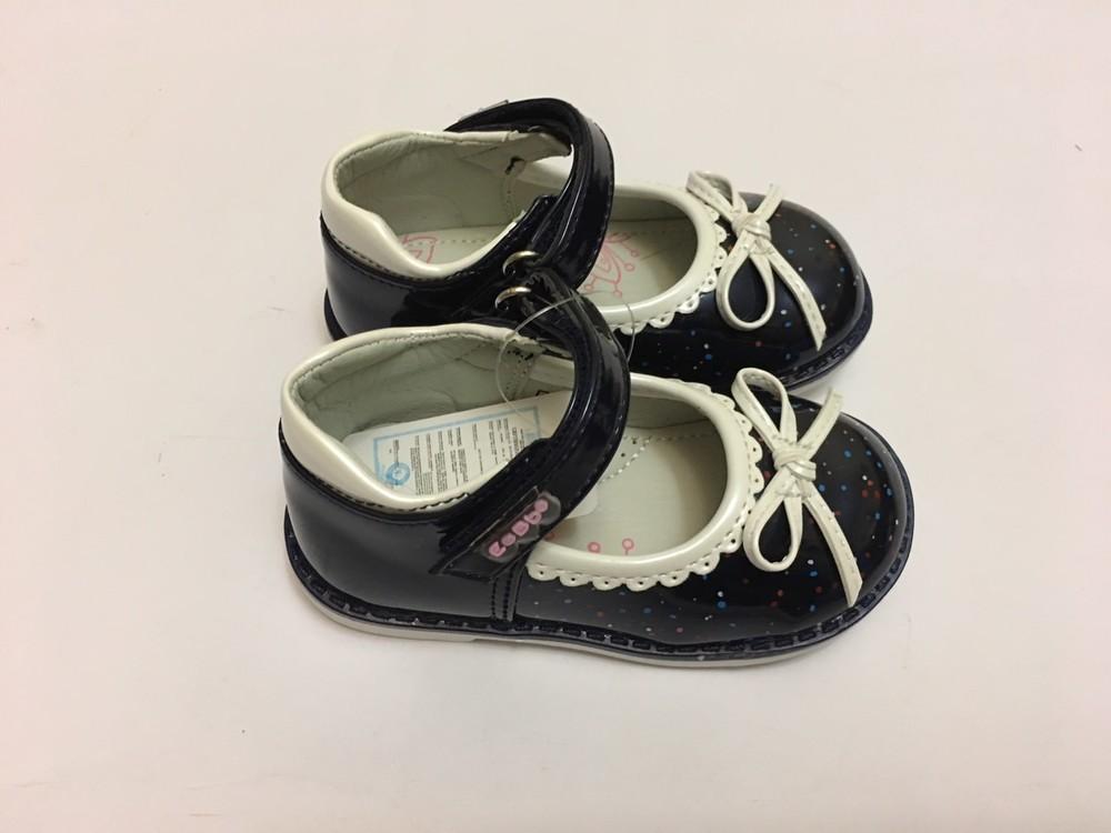 Туфлі сині з білим бантиком фото №1