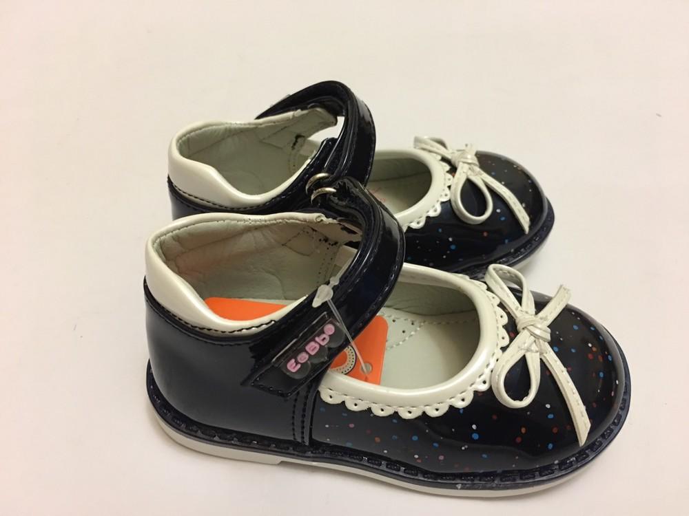 Туфлі сині з білим бантиком фото №3