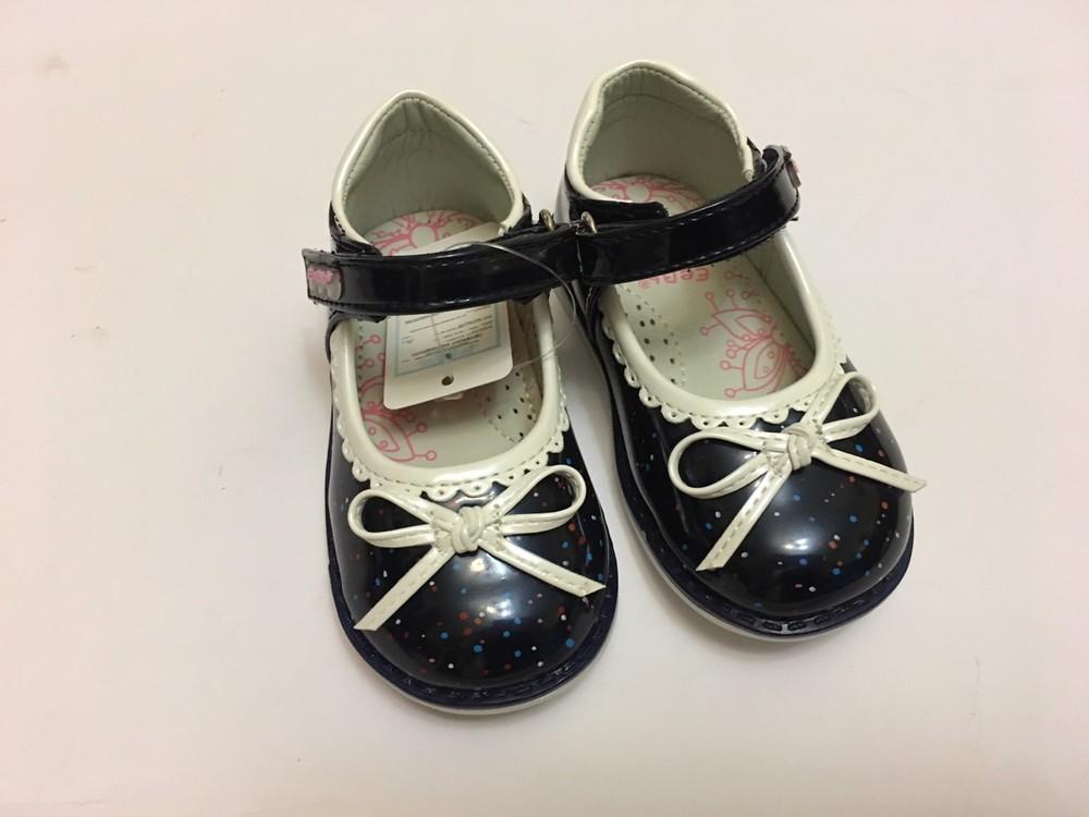 Туфлі сині з білим бантиком фото №6