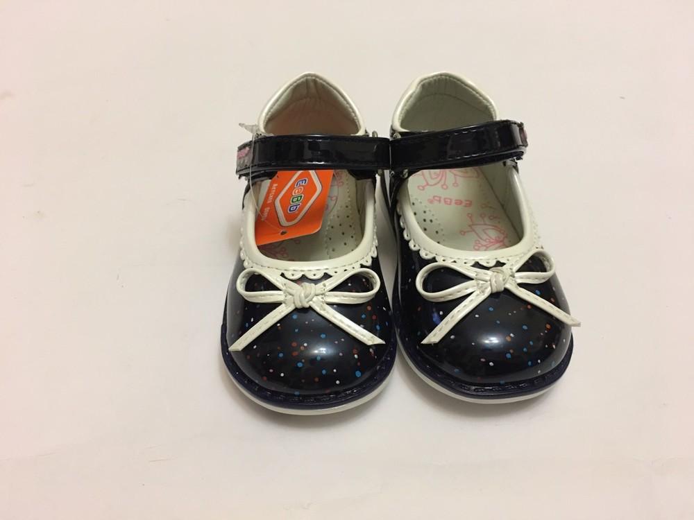 Туфлі сині з білим бантиком фото №7