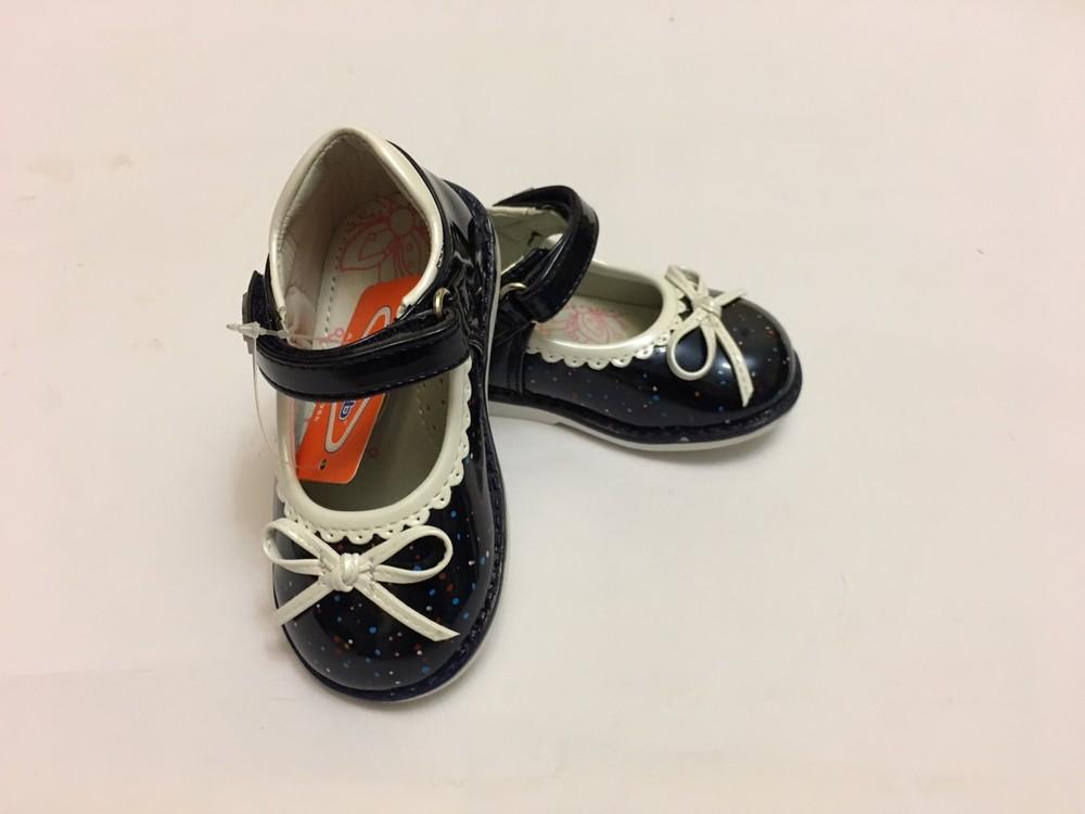 Туфлі сині з білим бантиком фото №8