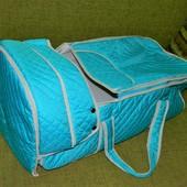 Люлька сумка для переноски малышей и утепление в коляску бирюзовая