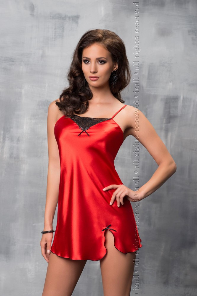 Tara красная сорочка ночнушка атласная комбинация со вставкой из кружева 07ff0e5a76d9f