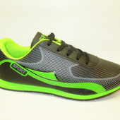 Кроссовки черные с зеленым Т665