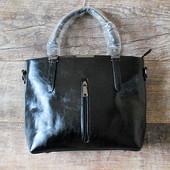 Люксовая строгая черная женская сумка  качество купить недорого