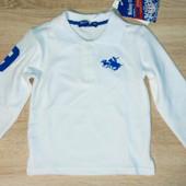 Поло с длинным рукавом белого цвета фирмы Nickey Child 2,4 и 5 лет