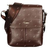 Компактная мужская сумка через плечо коричневого цвета (54200)