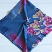 Хлопковый платок цветы синий