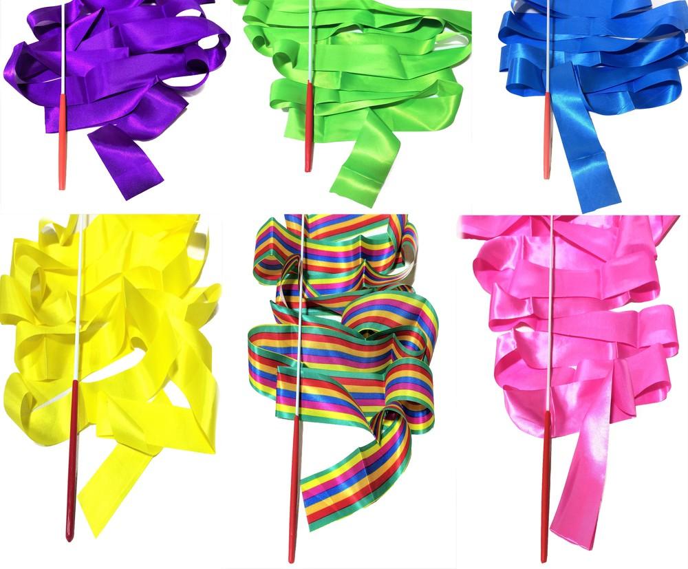 Лента гимнастическая 4м цвет в ассортименте фото №1