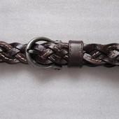 Ремень пояс кожаный коричневый плетеный TU (S, M, L)