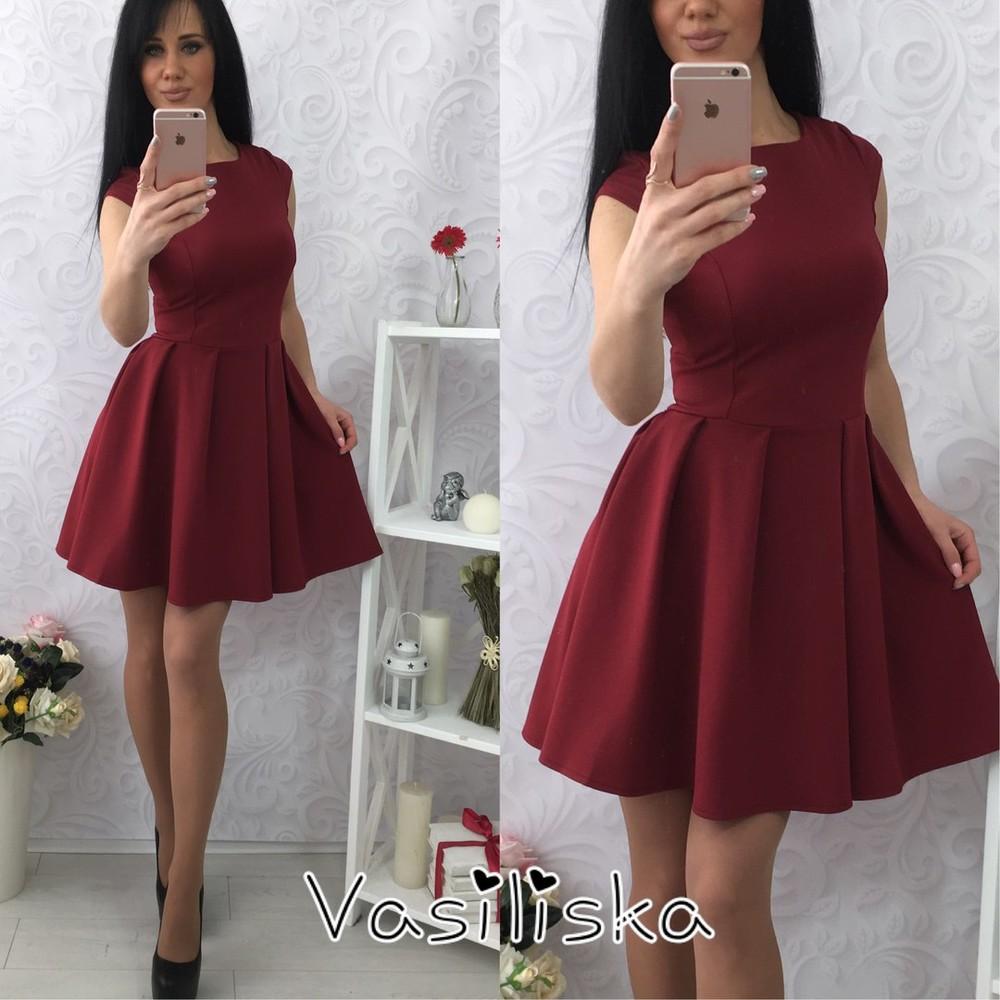 6e554a2d8b0 Женское вечернее платье с пышной расклешёной юбкой бордо красное черное  электрик фото №1