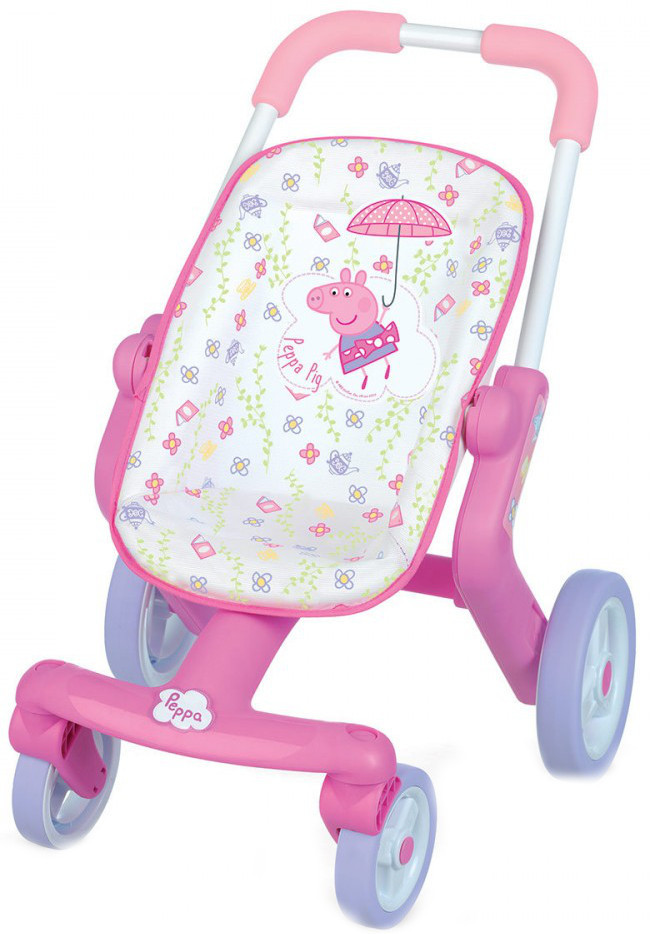 Smoby прогулочная коляска для куклы свинка пеппа peppa pig poussette pop 251206 фото №1