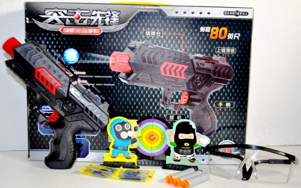 Пистолет ак45 с гелевыми растущими пулями и присосками фото №1