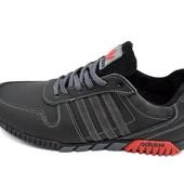 Кроссовки Мужские Adidas 42 черно-серые (реплика)
