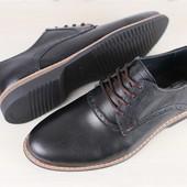 Мужские кожаные туфли, на шнурках, черные