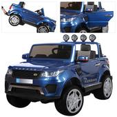 Двухместный электромобиль Land Rover m 3273 eblrs-4 синий, 4 мотора, автопокраска и кожаное сиденье