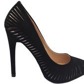 Женские туфли лодочки чёрный замш