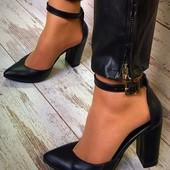 Шикарные кожаные туфли с ремешком натуральная кожа
