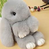 Меховой брелок Кролик св.серый