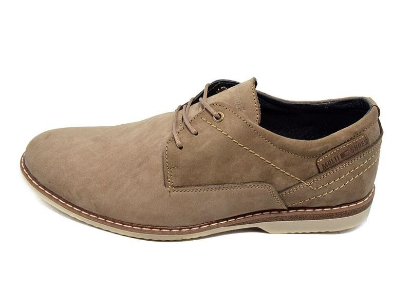 Туфли мужские нубук Multi Shoes бежевые (реплика) фото №1