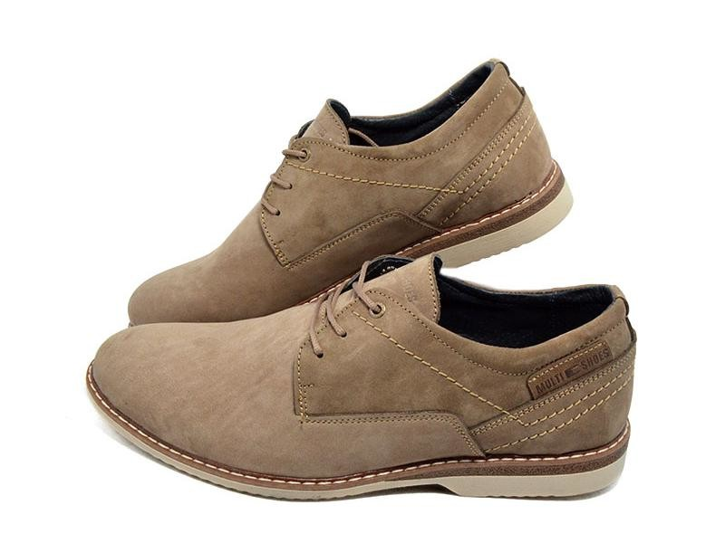 Туфли мужские нубук Multi Shoes бежевые (реплика) фото №2