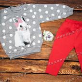 Костюм на девочку Кролик, 92 98 размер, кофта штаны, свитер, 100% хлопок, Турция