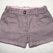 стильные тёплые шорты F&F 1-1,5 г с регулир. в поясе коттон как новые