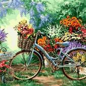Картина-раскраска Турбо Цветочный рынок (VP639) 40 х 50 см