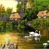 Картина по номерам Turbo Лебединая семья художника Цыганова VP195