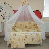 Bonna 9 в 1 Детское постельное белье в кроватку бежевое Зайчик пуговица