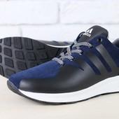 Код: 2433 Мужские кроссовки, темно-синие, из натуральной замши
