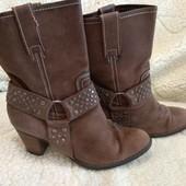 Стильные кожаные ботинки  23.5см