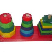 Пирамидка деревянная 3 в 1