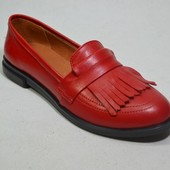 Новинка! женские кожаные туфли Модель: 21656-35, красная кожа
