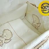 Комплект постели в кроватку  Bonna Вышивка