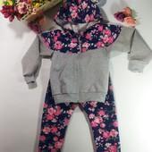 Спортивный костюм для девочки цветочный принт серый с  синим размер 34