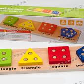 Деревянная игрушка Геометрика Фигуры, сортировка по цвету, обучение математике