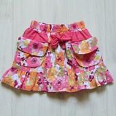 Яркая юбка для девочки. Внутри на подкладке. Пояс на резинке. St.Bernard. Размер 9-12 месяцев