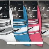 Носки женские демисезонные спортивные х/б Nike, Sport Socks, цветное ассорти, средние