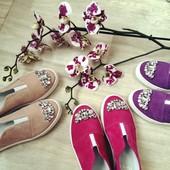 Слипоны слипы туфли с камнями Натуральная кожа/замша/кож подкладка