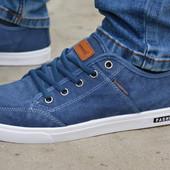 Мужские спортивные туфли кеды низкие тканевые синие