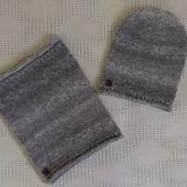 Новый вязанный набор шапка и хомут снуд ручной работы
