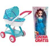 Коляска Smoby Frozen с люлькой и корзиной +в подарок Кукла Frozen