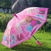 Детский зонт зонтик трость для девочки Фрозен Ледяное сердце, спица карбон!
