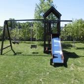 Baby Smile mini детская игровая площадка, комплекс: горка, качели, песочница. Baby Smile mini предна